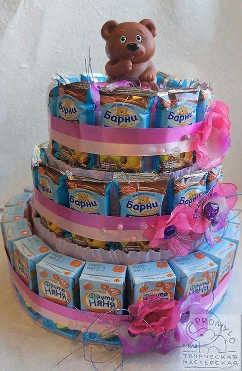 Торт для детского сада из барни и сока своими руками
