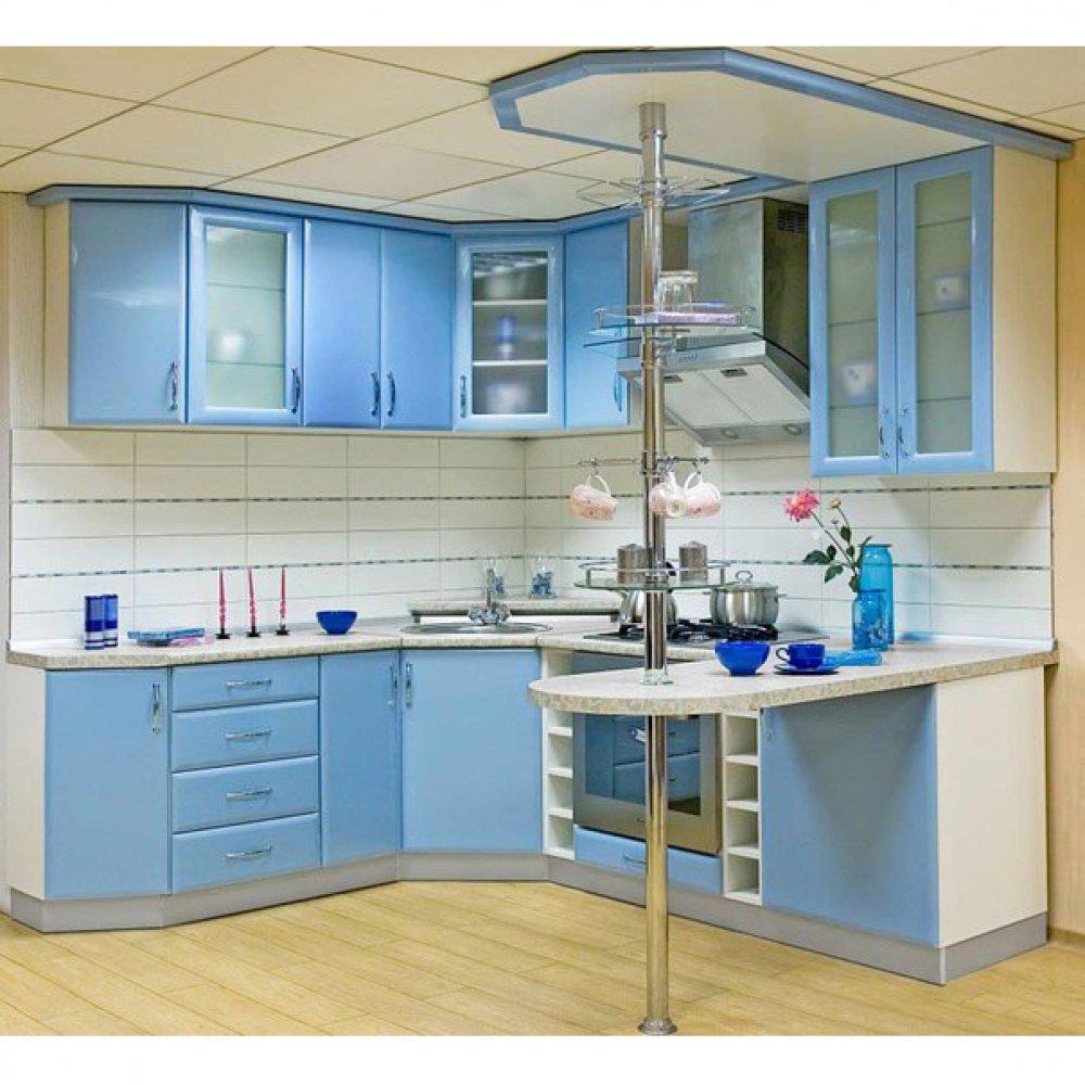 Кухня модерн голубая с барной стойкой на заказ и шкафы серпу.